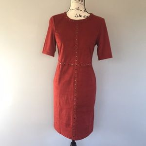 Spense Faux Suede Red Dress